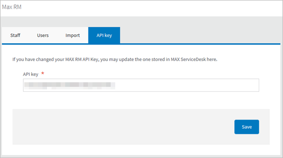 In Service Desk Go To Settings Integrations Max Remote Management And Click Open The Api Key Tab