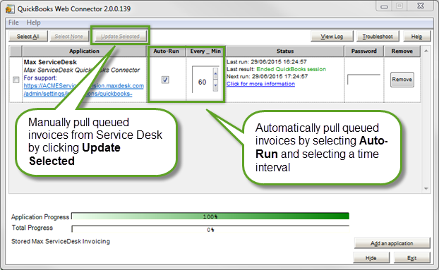 And S Line Items To Max Service Desk You May Want Trigger This Initial Run By Using The Update Selected Option In Quickbooks Web Connector